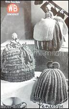Vintage 30s Knitting Pattern Copy TEA COSY COSIES DUTCH GIRL Bachelor LADY ROSE