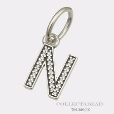"""Authentic Pandora Sterling Silver Hanging Letter """"N"""" Pendant   791326CZ"""