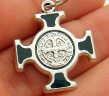 MRT St Benedict Maltese Cross Pendant Silver Plate Protector Saint Pendant Gift