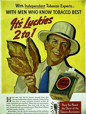 LUCKY STRIKE Cigarette Advertisement AD 1938 Matted