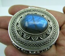 MASTERPIECE ANTIQUE STYLE BOX CASE CONTAINER LABRADORITE GEM 925 STERLING SILVER