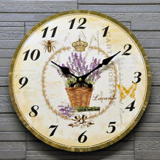 Wall Clock Lavender Flowers Floral Shabby Chic French Style Battery 34cm