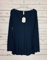 Altar'd State Women's M Medium Navy Blue Waffle Thermal Tunic Top Shirt NEW TAGS