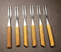 6 Vintage Wood Handle Appetizer Forks Cocktail Fondue Stainless Taiwan