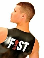 Fist Rubber Designer T-Shirt Fetish Gay Sleeveless Latex-T-Shirt Fistlogo Red