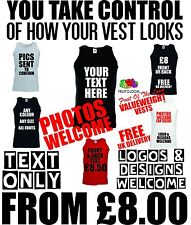 Mens custom vest printed personalised text words vest summer tops stag gym runs