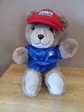Vintage New York Giants Stuffed Plush Bear w/Red Old Logo Cap & Satin NFL Coat