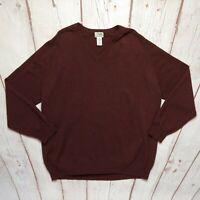 L.L. Bean Men's Burgundy Red 100% Lambswool Sweater Size XL Tall VNeck OJ657 EUC