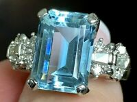 Fine Heavy Platinum 8.47ct vs Emerald Cut Aquamarine .75ct VS Diamond Ring 12.8g