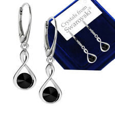 925 Sterling Silver Earrings INFINITY Jet Black Genuine Crystals from Swarovski®