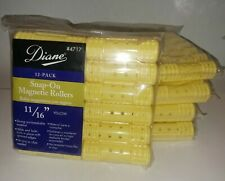 "Diane #4717 Snap On Magnetic 11/16"" Hair Rollers Lot of 5 12-Pack Yellow Curlers"