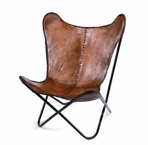 Hide Butterfly Sofa Real Vintage Goat Leather Modern Occasional Industrial Chair