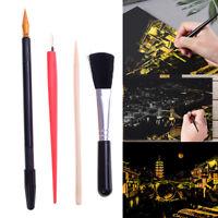 4Pcs Painting Drawing Arts Set Stick Scraper Pen Brush Art Paper Diy Tools FE