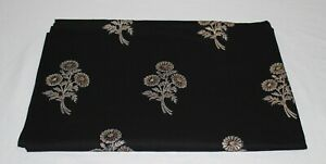 Floral Gold & Black Indian Hand Block Printed Fabric Cotton Fabric 7 Yards Craft