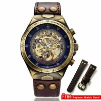 Steampunk Men Watch Automatic Mechanical Skeleton Vintage Self Wind Leather Band