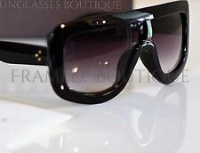 DESIGNER Inspired BLACK Flat TOP SHIELD SUNGLASSES Shades CELEBRITY .9