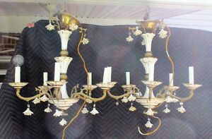 Vintage Capodimonte White Porcelain Chandelier Gold Accents And Roses
