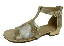 Naturalizer Mabel women's flat sandals gold zip back leather upper size 9.5W