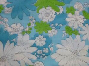 Vtg Cannon Monticello Blue Full Flat Sheet Blossom Festival Flower Power CRISP