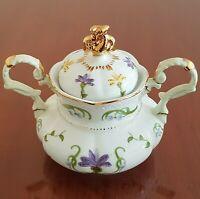 Lissi Kaplan Crocus Sugar Dish Bowl with Lid Crocus Gold Trim Giftcraft