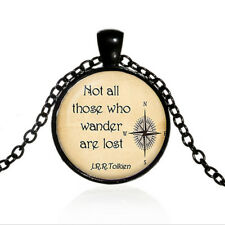 Not all those who wander are lost Cabochon Black Glass Chain Pendant Necklace