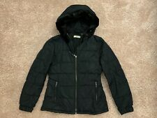 Prada Black Down Puffer Jacket With Mink Fur Lined Hood Size 42