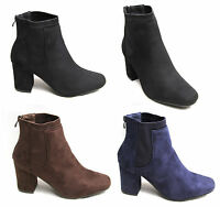 Womens Ladies Suede Elasticated Ankle Boots Zip Up Mid Heels Block Shoes Office