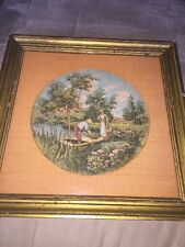 TAPESTRY FRENCH COUNTRY DECOR GILT WOOD FRAME Antique Framed BRIDGE FAMILY