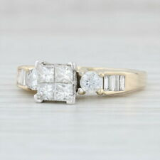 1.26ctw Diamond Cluster Solitaire Engagement Ring - 14k Yellow White Gold Size 9