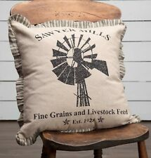 "18"" Vintage-Style Grain Sack Windmill Pillow Tan Stripe Ruffle Sawyer Mill"