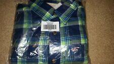 NWT Hollister Huntington  Beach Flannel Shirt Medium Navy/Green Plaid