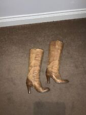 RUSSELL & BROMLEY Tan Knee High Pull On Leather Boots Ladies EU36 UK3 39557