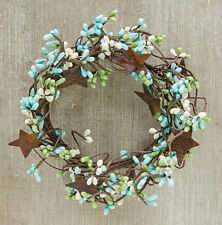 """Wreath Candle Ring 4"""" Diameter - Pip Berry in Seabreeze - Rusty Tin Stars"""