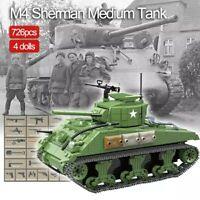 Lego ww2 Tank Sherman M4 Panzer Allemand Véhicule Militaire Jouet Construction