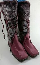 MOSHULU COLOURS DUSKY PINK FLAT FUR TRIM SUEDE LEATHER LINED BOOTS UK 5 EUR 38