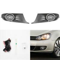 Fog Light Kit Set For 2010-2014 VW Golf MK6 Jetta with Bezel Switch Wire Bulbs