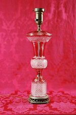 Stunning Vintage Cranberry Red Flash Glass Facet Crystal Electric Lamp 22""