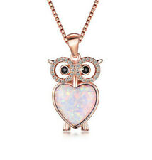 Opal Owl Pendant Necklace WeddingJewelry Fashion Rose Gold White Fire Artificial