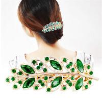Vintage Exquisite Leaf Crystal Rhinestone Barrette Hairpin Hair Clip Headband zi