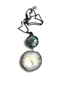 LoveActually Turquoise Agate Druzy Moon Flower Sterling Necklace $325 Handmade