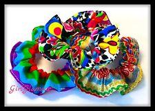 3 Multicoloured Scrunchies Vintage Hair Tie Fabric Elastic Band Ponytail Disco