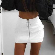 US Women PU Leather Skirt High Waist Zipper Short Mini Skirt Beach Party Wear
