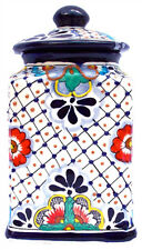 """Talavera style Small canister 4.75"""""""" dia x 9.25"""""""" high"""