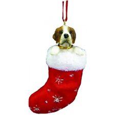 Saint Bernard Dog Santa's Little Pals Stocking Christmas Ornament