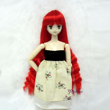 "Mimiwoo Obitsu 1/6 Bjd Heat Resistant 3.5""-4"" Doll Wig Long Wavy Braids Red"