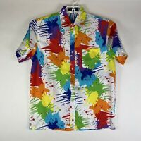 VTG Zacard Men's Short Sleeve Paint Splatter Button Front Multicolor Shirt XL