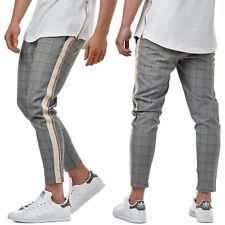 EightyFive Herren Karo Pants Stoffhose Grau Slim Fit 7/8 Bein EFJ2002 W29-W36