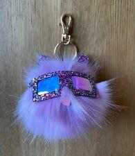 NEW ACCESSORIZE Lilac Cat Pom Pom Keyring Bag Charm Glitter Details