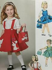 Simplicity Sewing Pattern 1075 Girls Childs Vintage Jumper Skirt Bag Size 3-8