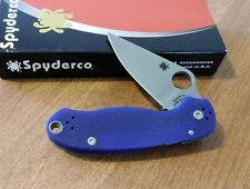SPYDERCO New Blue G-10 Handle Para Military 3 Plain S110V Blade Knife/Knives